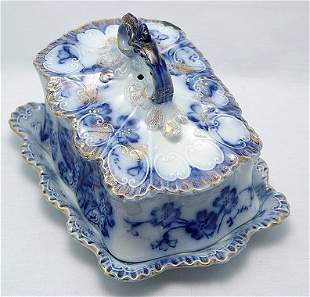 VICTORIAN ERA FLOW BLUE CHEESE DISH