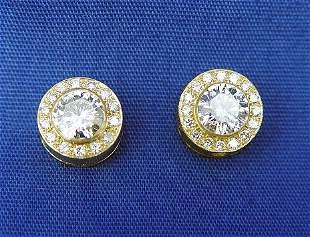 2.60CTW DIAMOND STUD EARRINGS 18K
