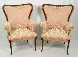 PAIR FINE MAHOGANY FRAMED FAN BACK PARLOR CHAIRS