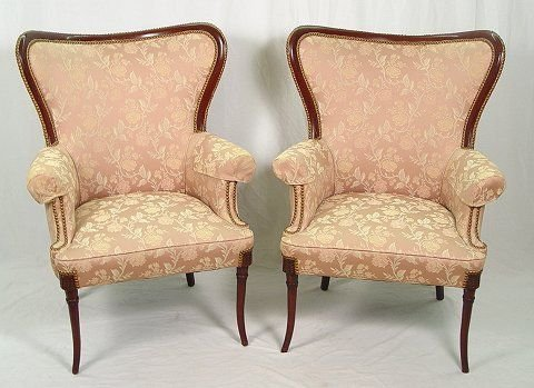 12: PAIR FINE MAHOGANY FRAMED FAN BACK PARLOR CHAIRS