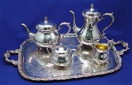 488: INTERNATIONAL SILVER CO DU BARRY 4PC TEA & TRAY