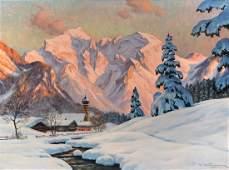 KETTEMANN SNOW COVERED ALPINE LANDSCAPE PAINTING