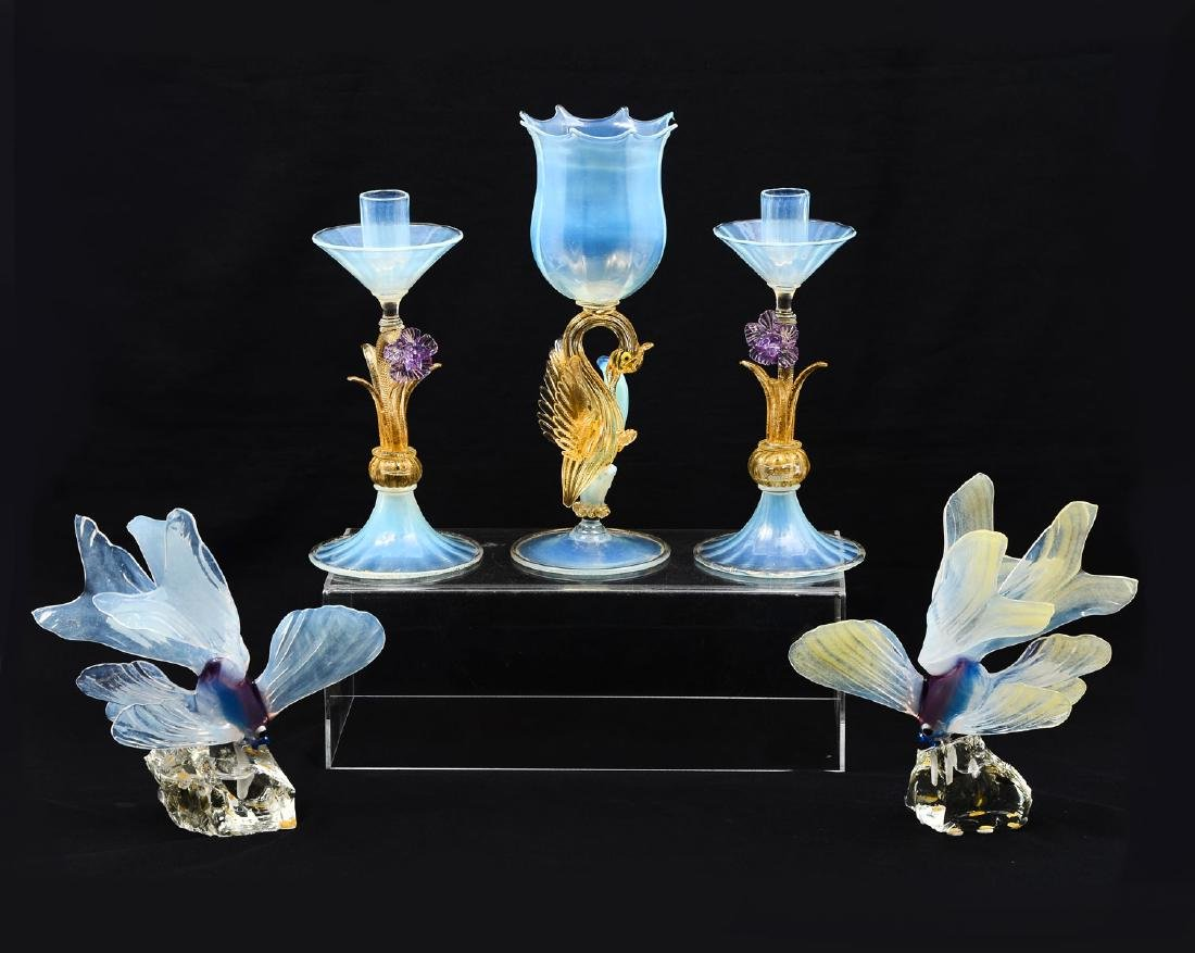 5 PIECE FIGURAL VENETIAN GLASS