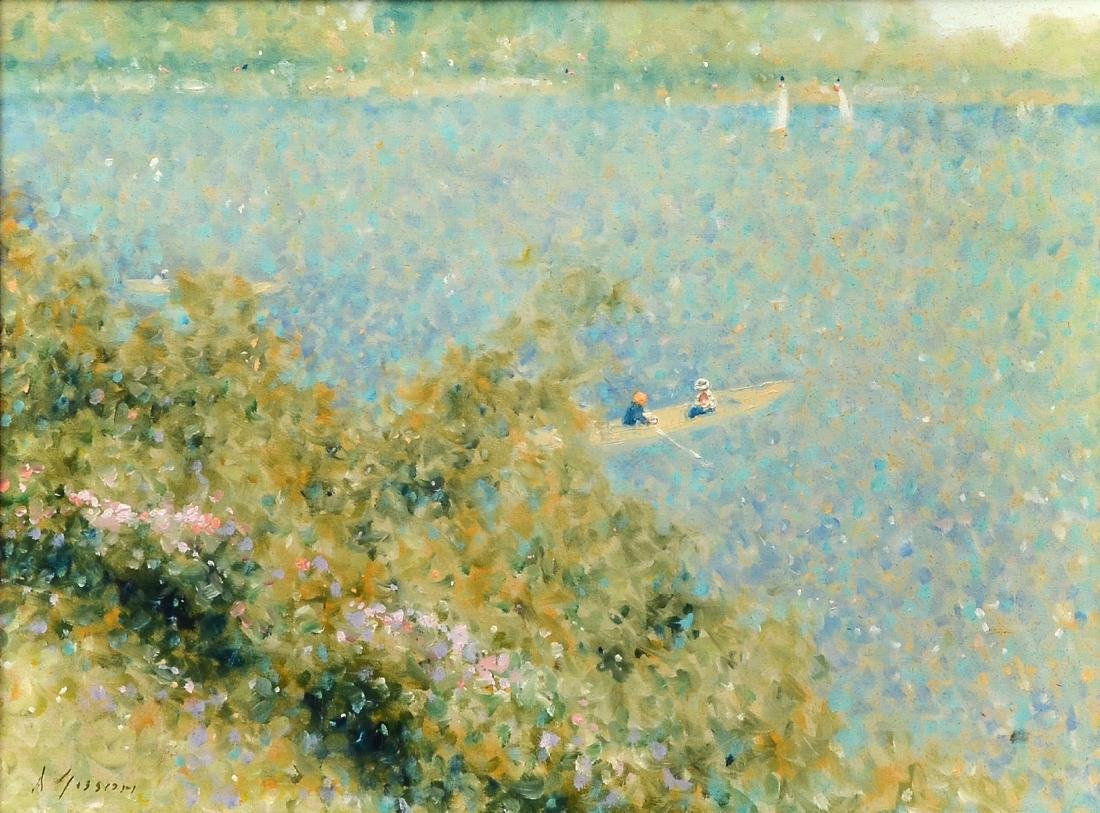 A. GISSON IMPRESSIONIST SCENE ON THE LAKE PAINTING