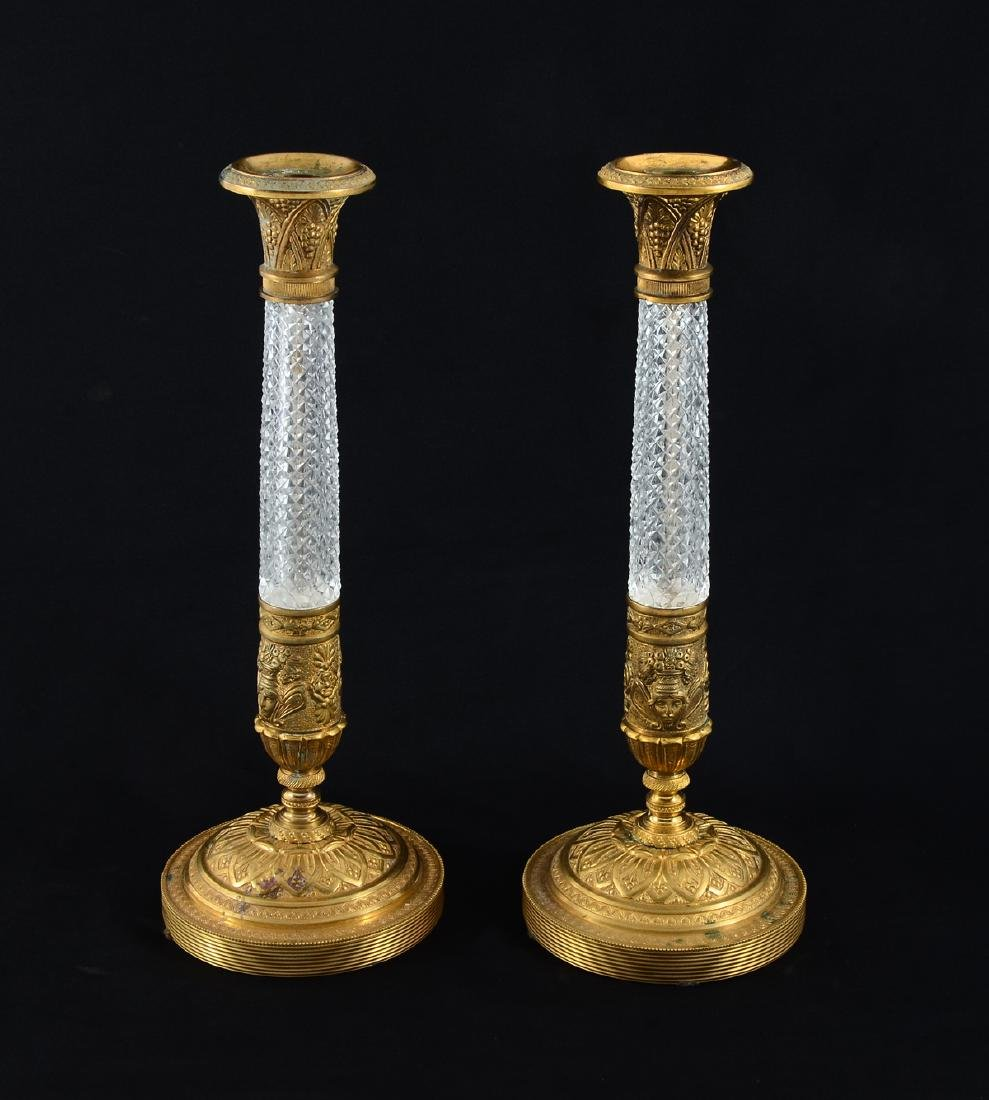 PAIR OF FRENCH DORE BRONZE & CRYSTAL CANDLESTICKS