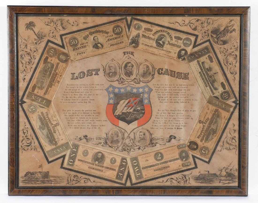 ''THE LOST CAUSE'' 1972 CONFEDERATE MONEY FRAMED