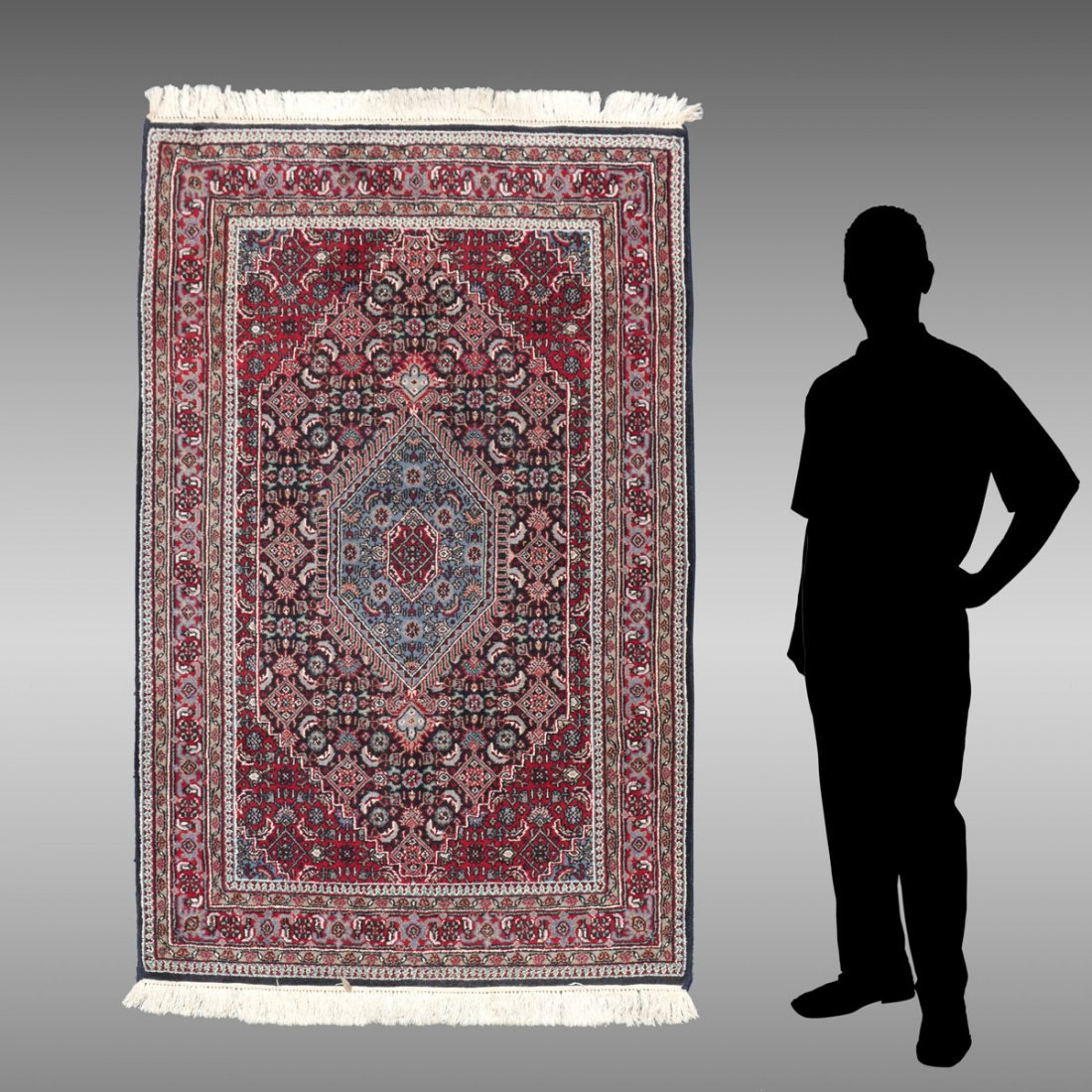 INDO-PERSIAN BIJAR HAND KNOTTED WOOL RUG, 4