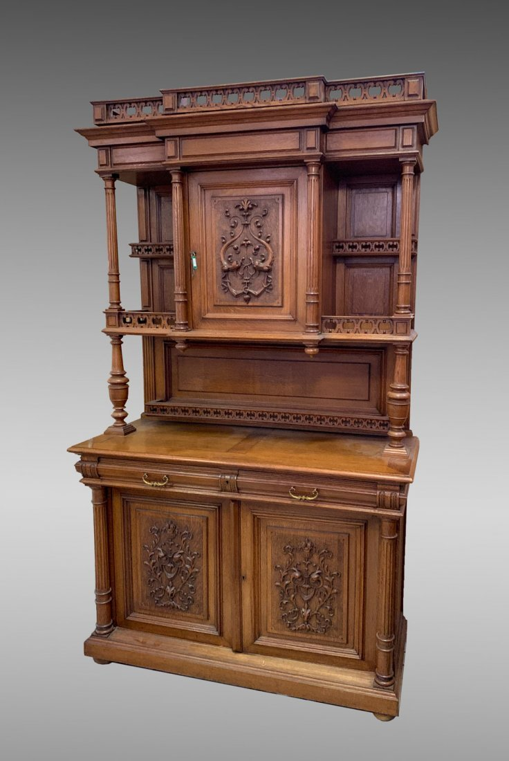 BELGIAN CARVED OAK STEPBACK CUPBOARD