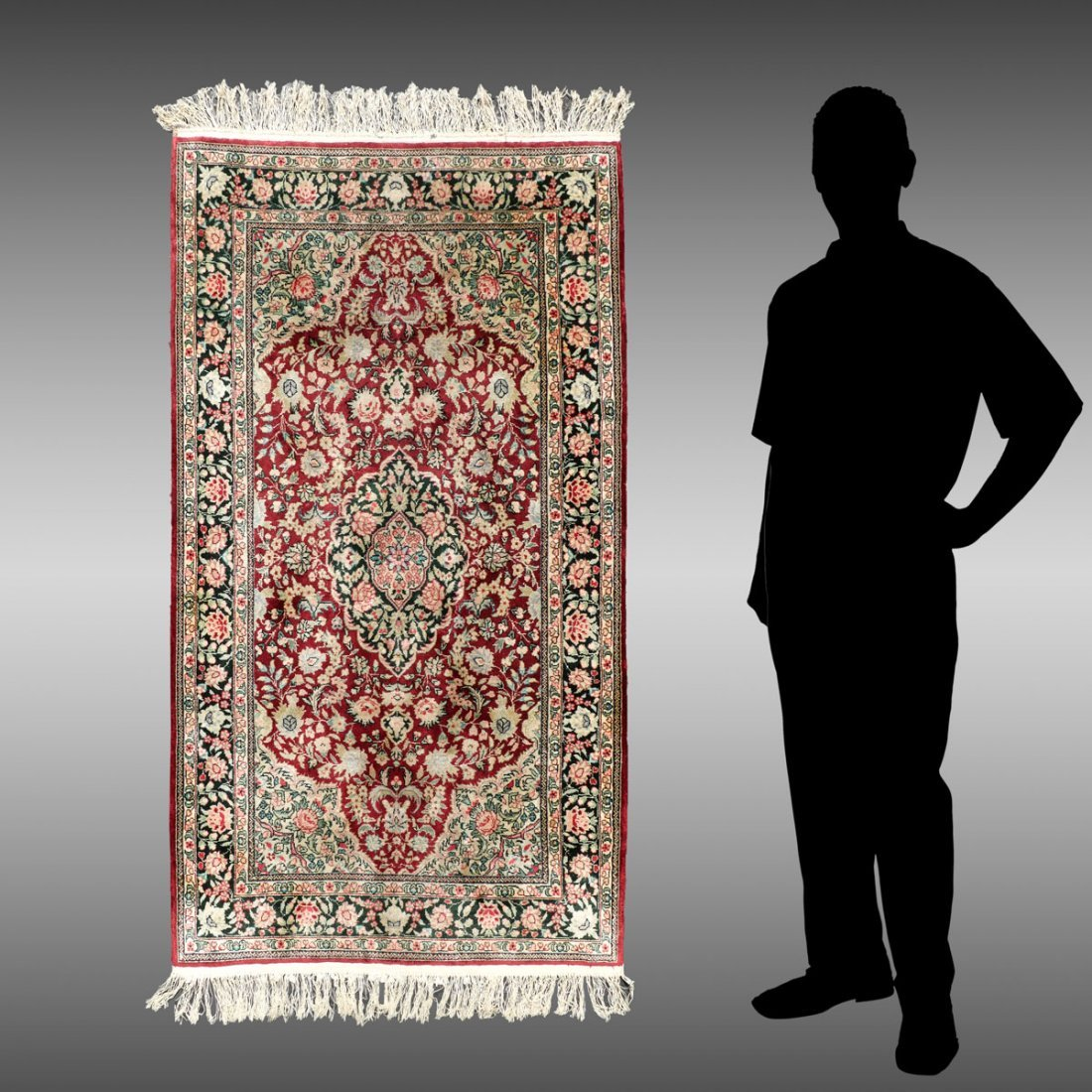 PERSIAN HAND KNOTTED SILK RUG, 3