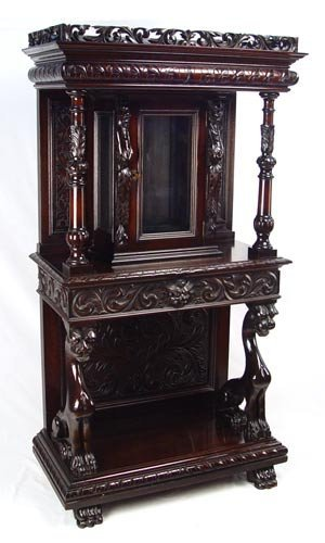 9: 19th C CARVED MAHOGANY SIDE CABINET