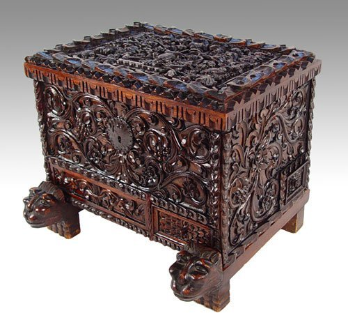 12:  PROFUSELY CARVED  ITALIAN  DOWRY CHEST