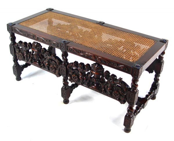 13: JACOBEAN CARVED CANE SEAT BENCH