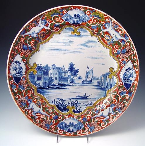 17: FRENCH FAIENCE CHARGER attrib. to ROUEN FRANCE