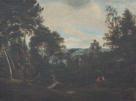 20: EARLY OIL/CANVAS PANORAMIC LANDSCAPE PAINTING