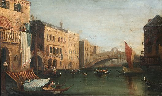 21: 19th C. VENETIAN CANAL PAINTING