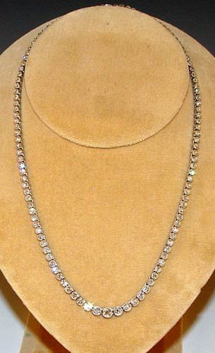 22: OLD EURO DIAMOND RIVIERE NECKLACE 8 CTW 18K WHITE