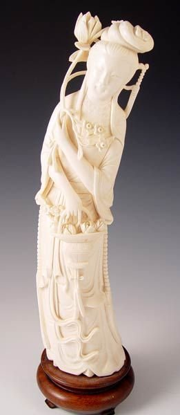 "11A: EARLY 20TH C CARVED IVORY QUAN YIN  12""h."