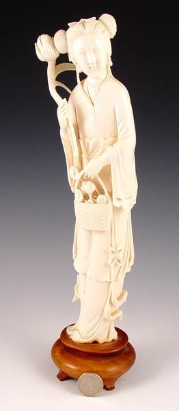 "11: EARLY 20TH C CARVED IVORY QUAN YIN   12""h."