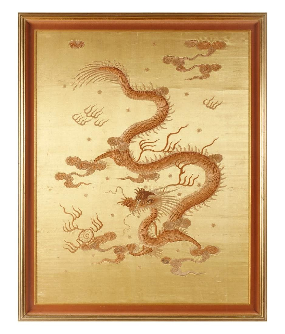 FRAMED QING DYNASTY IMPERIAL DRAGON EMBROIDERY