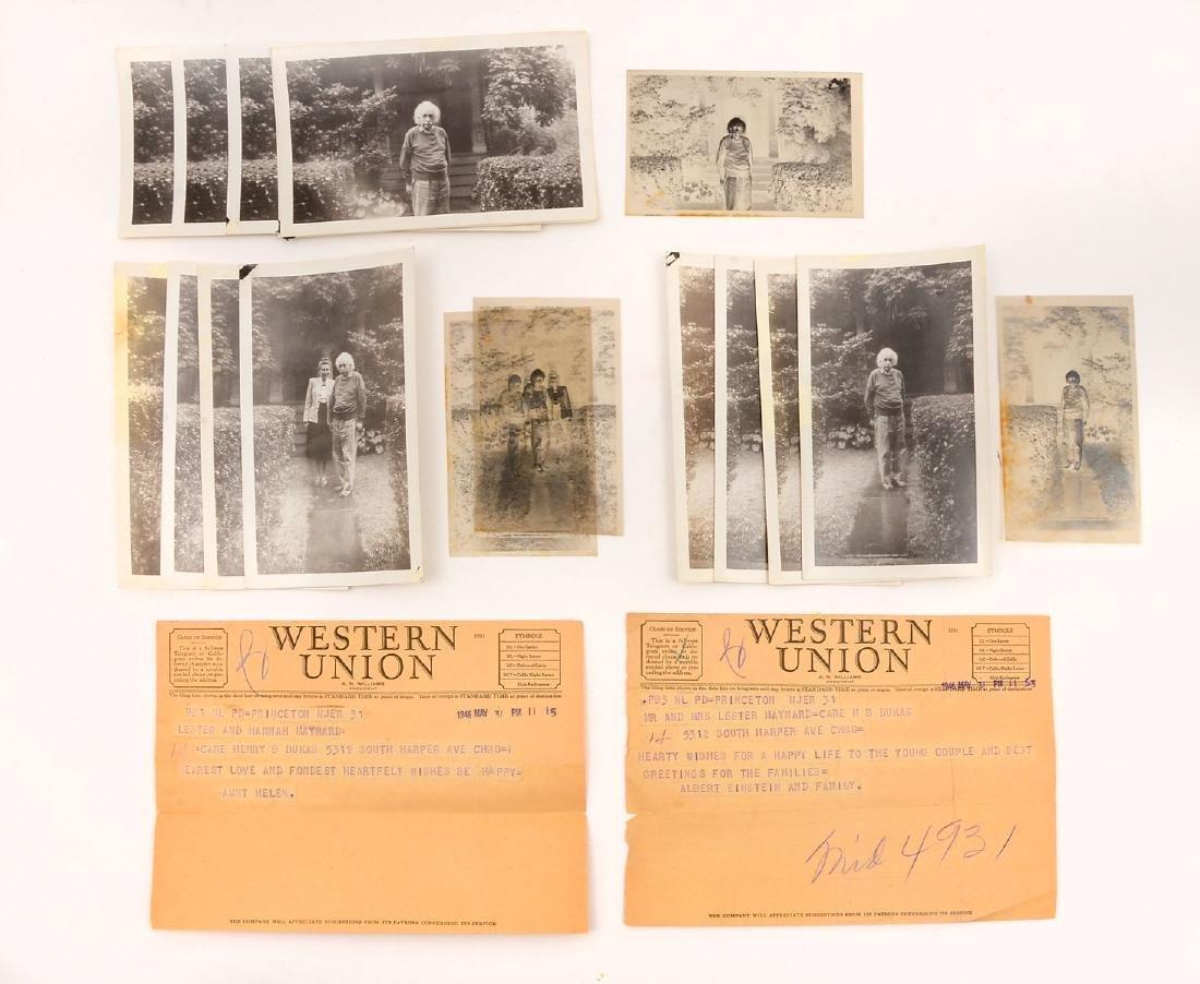 EINSTEIN PHOTOS & NEGATIVES W/ WESTERN UNION TELEGRAMS