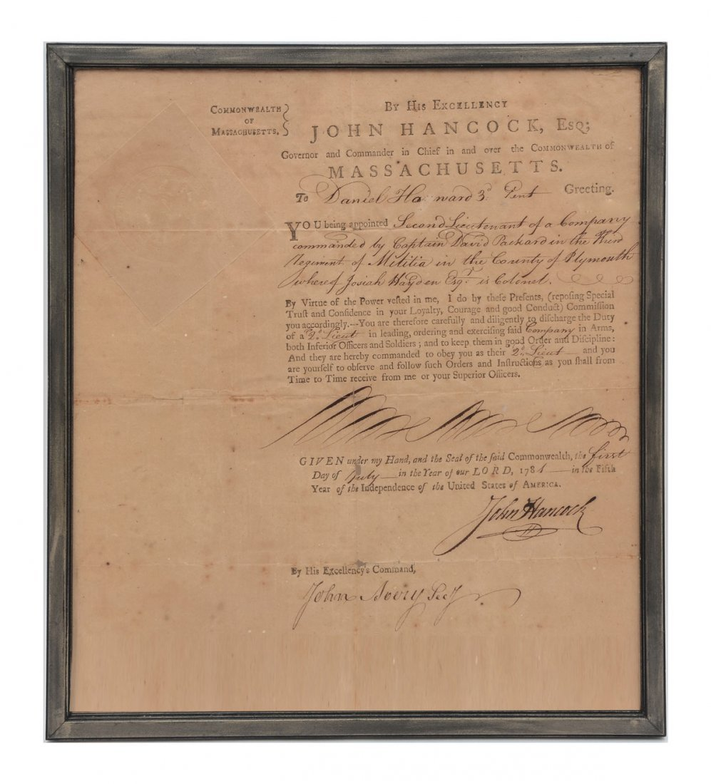 IMPORTANT SIGNED JOHN HANCOCK DOCUMENT 1781