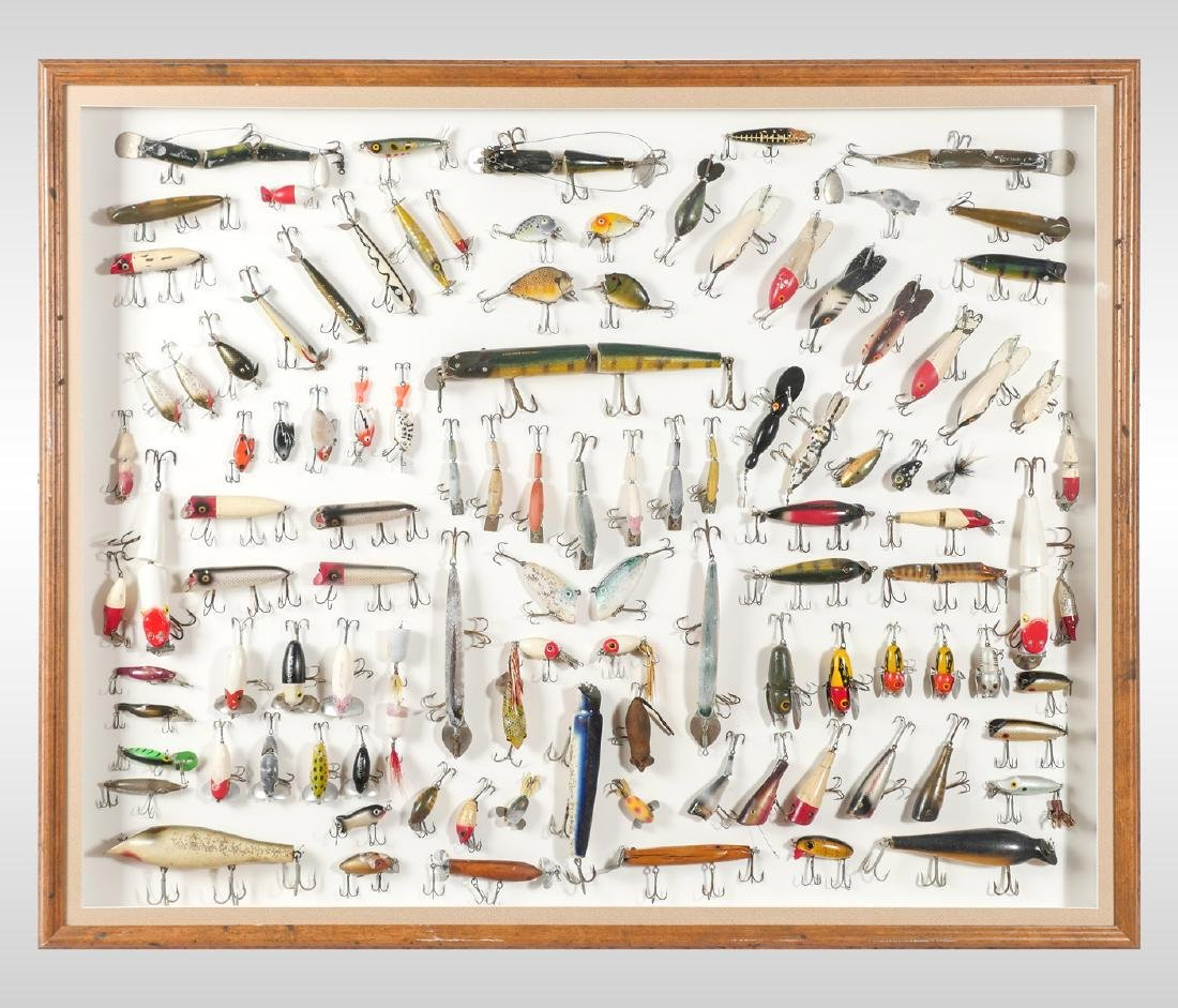 LARGE FRAMED FISHING LURE COLLECTION