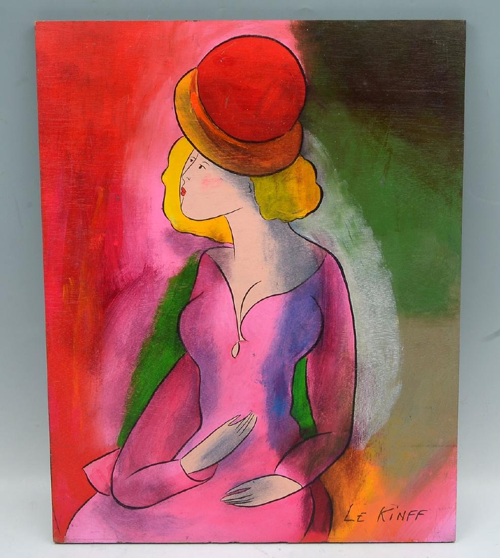 LINDA LE KINFF PAINTING BLONDE IN RED HAT