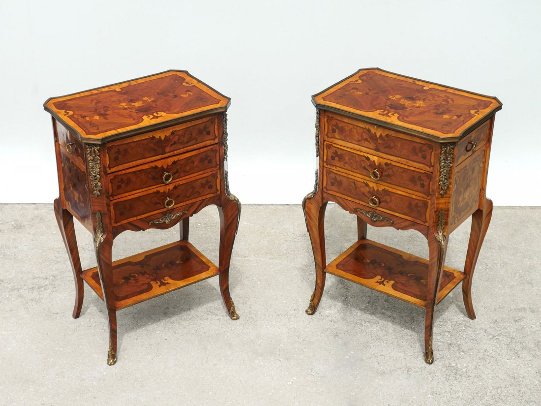 PR OF ANTIQUE LOUIS XVI STYLE NIGHTSTANDS