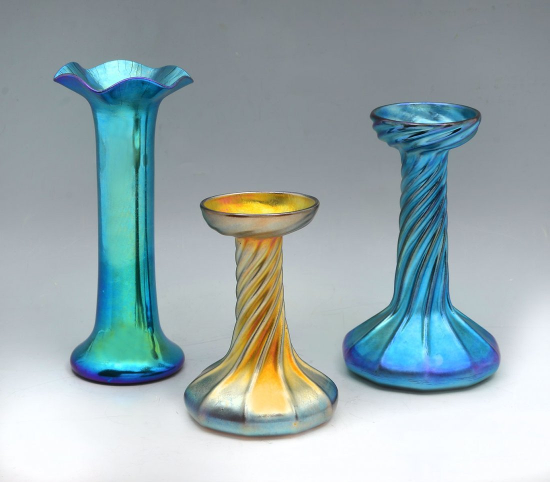 3 PC. TIFFANY & STEUBEN ART GLASS COLLECTION