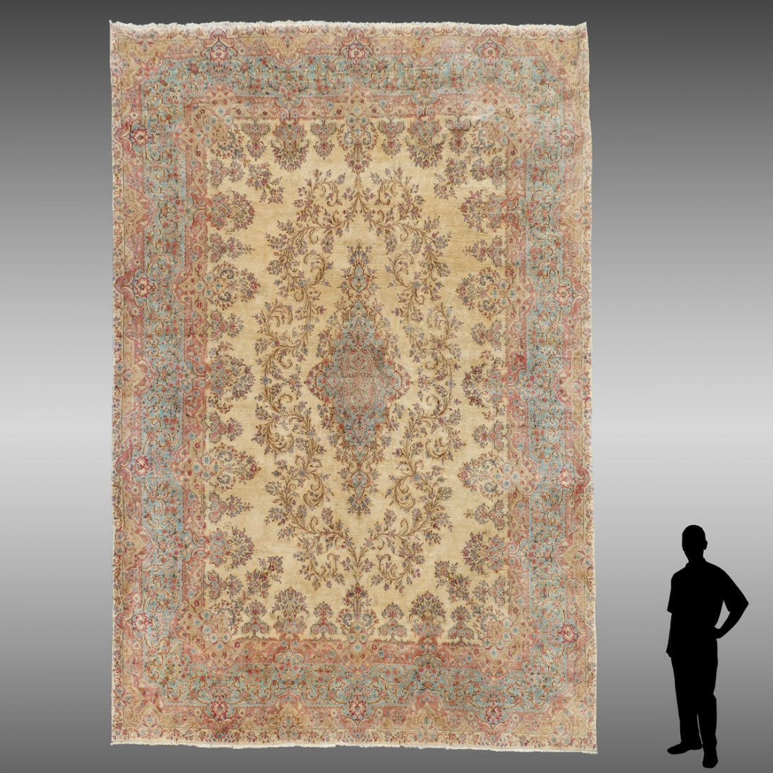 SEMI-ANTIQUE PERSIAN KIRMAN HAND KNOTTED WOOL RUG
