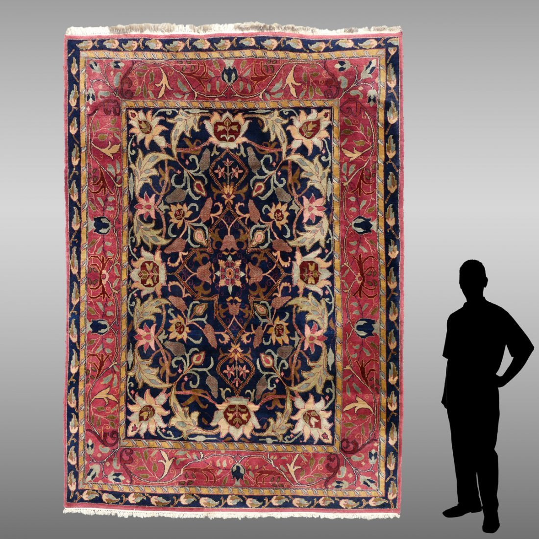 INDO-PERSIAN HAND KNOTTED WOOL RUG, 7