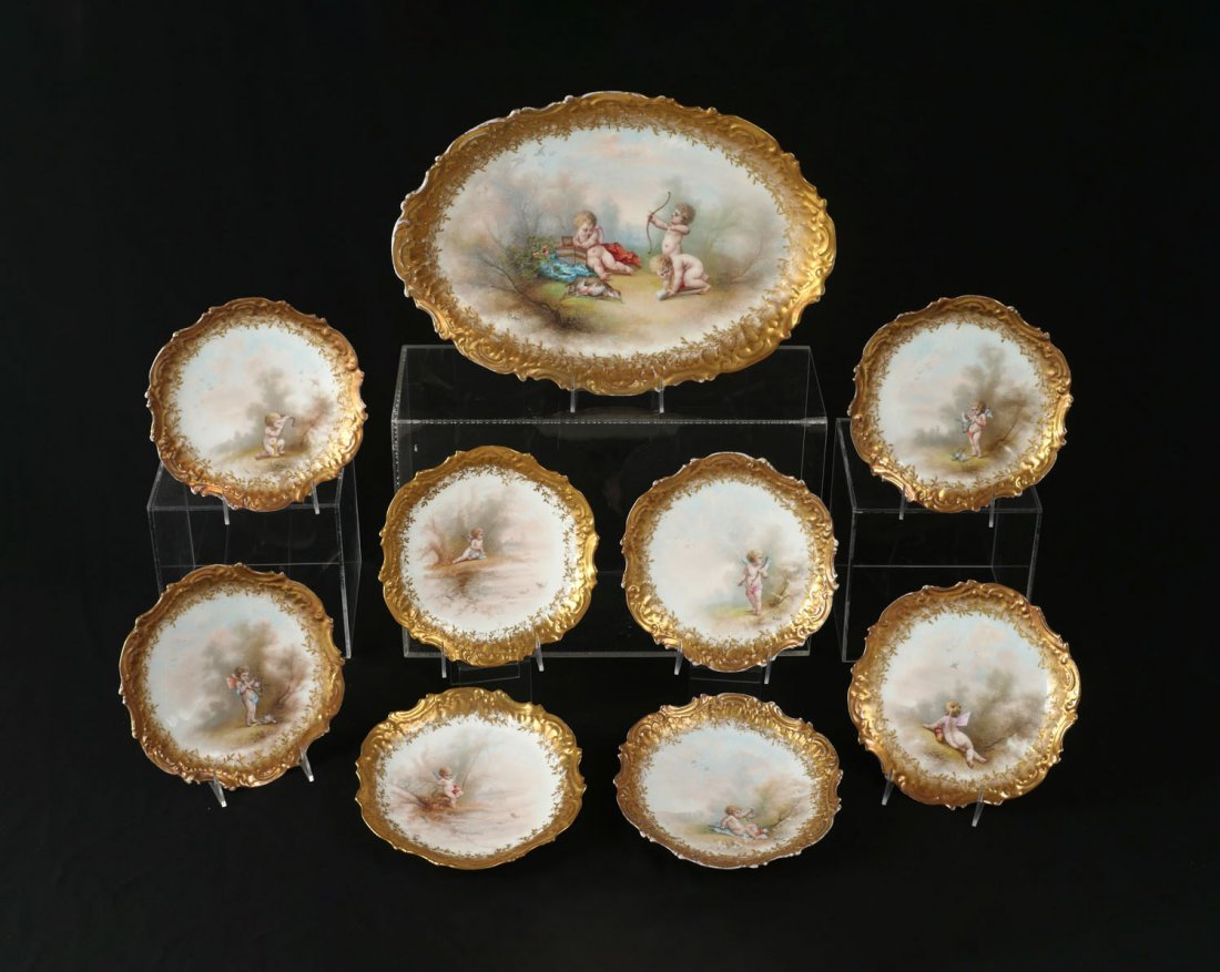 9 PC. LIMOGES PORCELAIN E. FURLAUD FISH PLATES AND TRAY