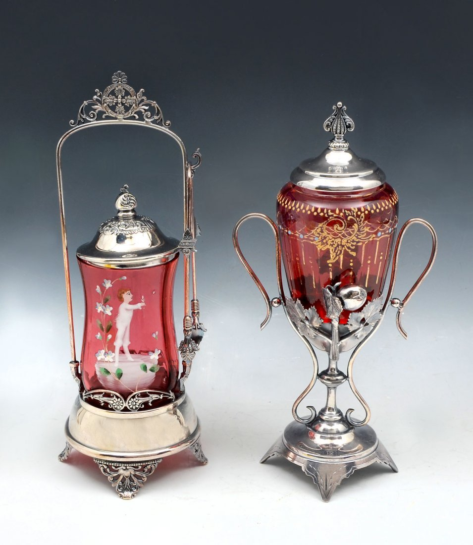 2 PIECE MARY GREGORY GLASS COVERED JARS