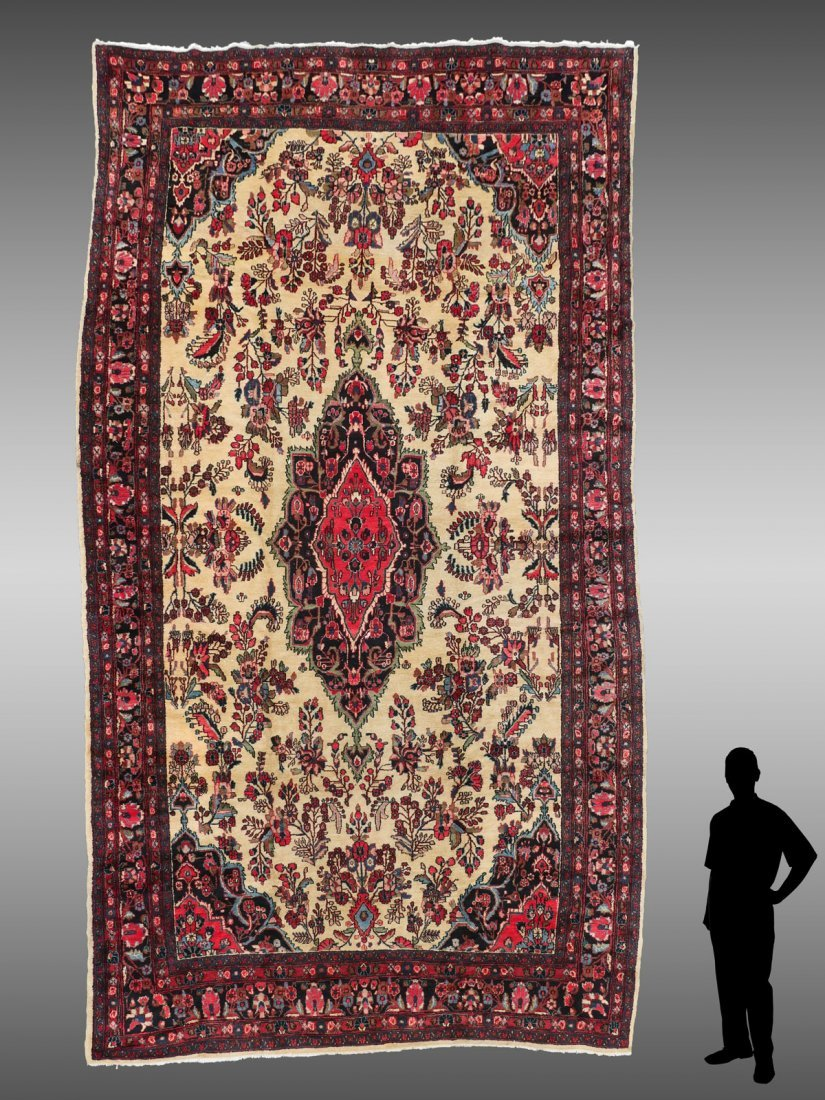 PERSIAN MAHAL HAND KNOTTED WOOL RUG, 17