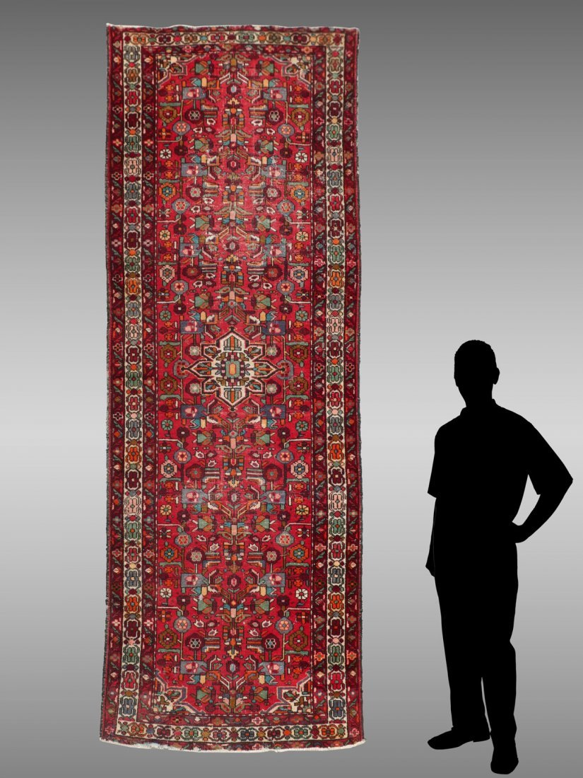 SEMI-ANTIQUE PERSIAN HAND KNOTTED WOOL RUNNER