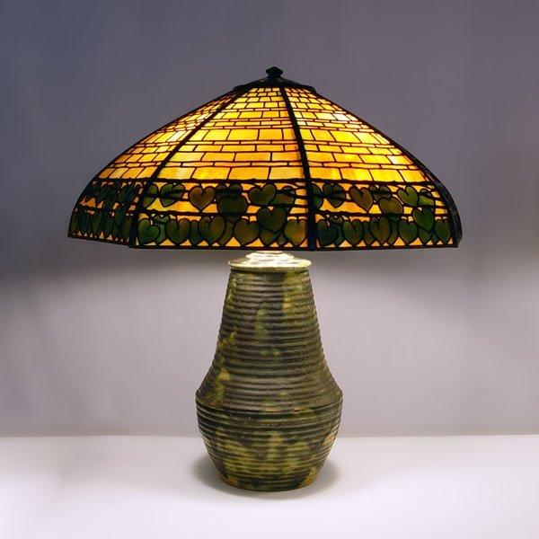 1003: FULPER POTTERY & HANDEL DOUBLE IVY TABLE LAMP