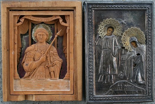 1008: 2 RUSSIAN ICONS (1 STERLING)