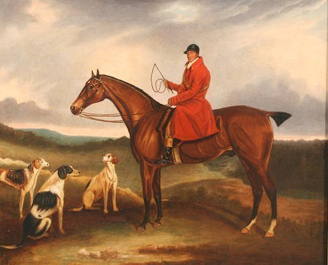 1011: EARLY ENGLISH PAINTING OF MAJOR BRIGGS ON HORSE