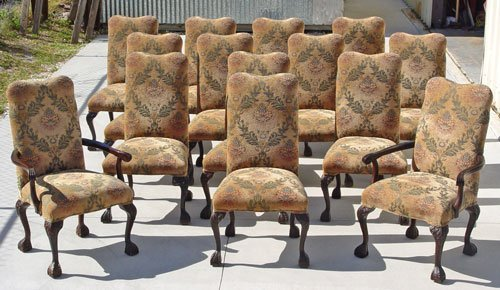 1017: SET of 14 CARVED MAHOGANY DINING / library CHAIRS