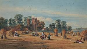 1026: PANORAMIC HAYMAKING PAINTING SIGNED L'HERMITTE