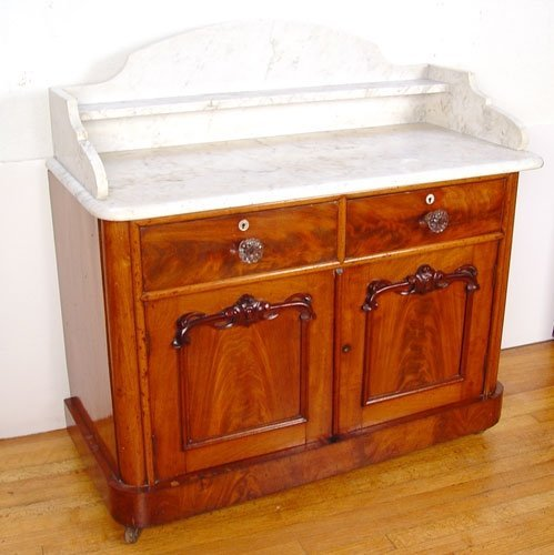1029: DUTCH MARBLE TOP COMMODE