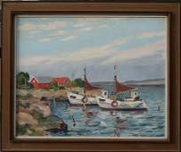 1095: ILLEGIBLY SIGNED HARBOR PAINTING
