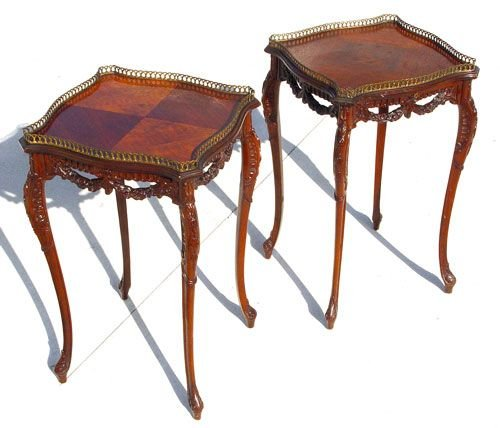 1024: PAIR FRENCH FLORAL FESTOON TABLES