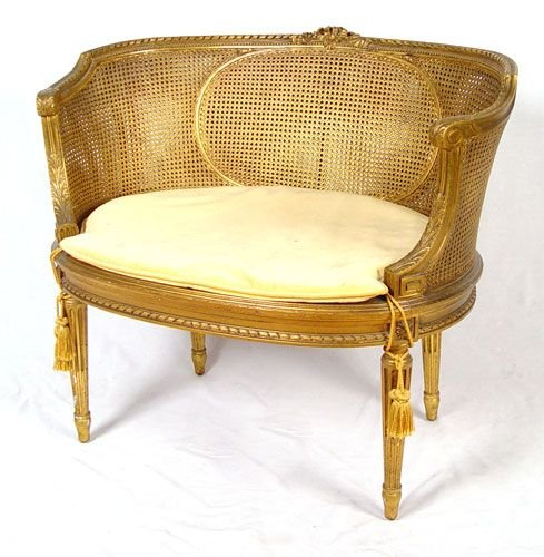1040: LOUIS XVI STYLE FRENCH SETTEE GOLD