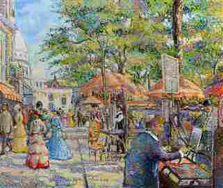 H. CLAUDE PISSARRO PAINTING WITH COA