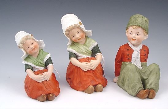 2001A: 3 SHAFER & VATER GERMAN BISQUE PIANO BABY FIGURE