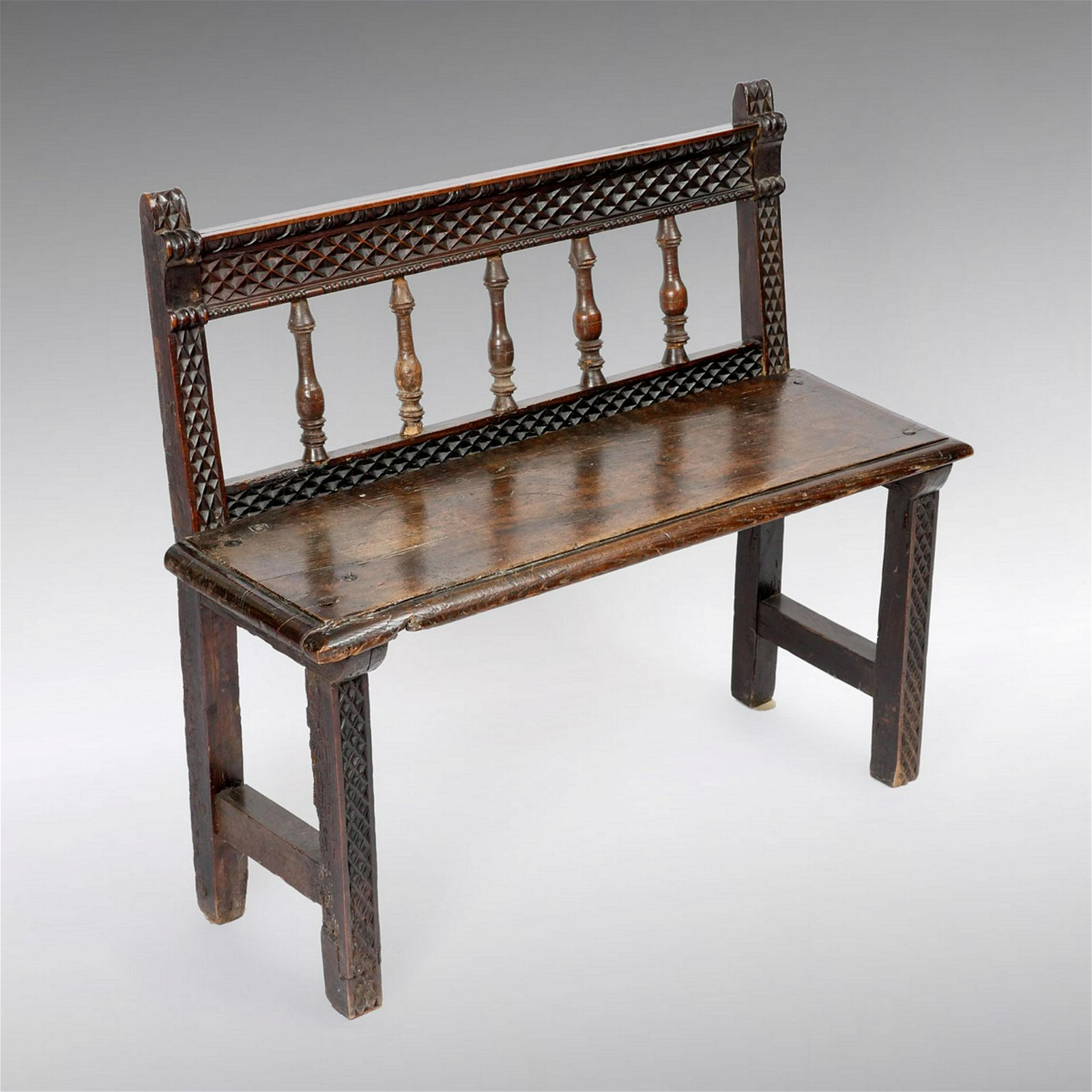 EARLY ENGLISH CARVED OAK BENCH