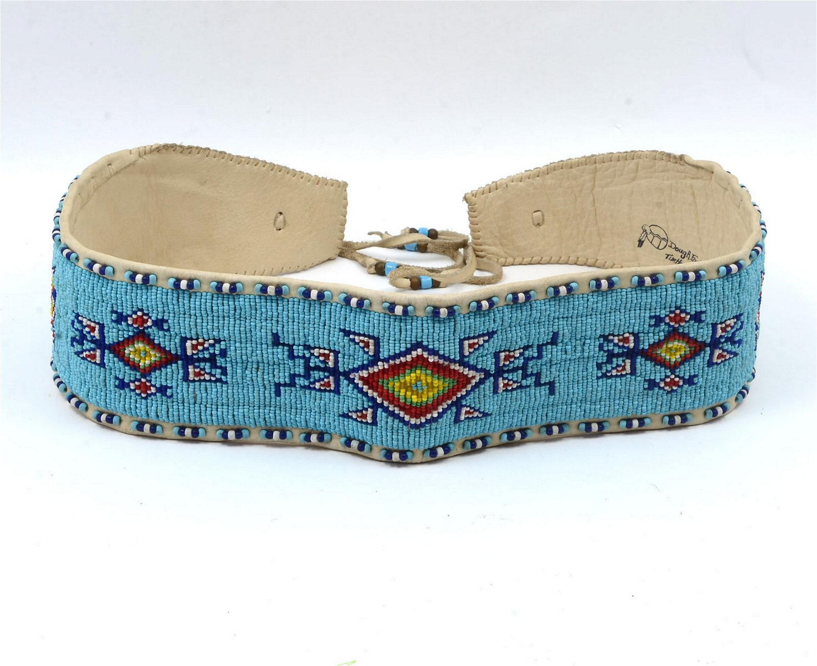 SIGNED NATIVE AMERICAN INDIAN BEADED LEATHER BELT