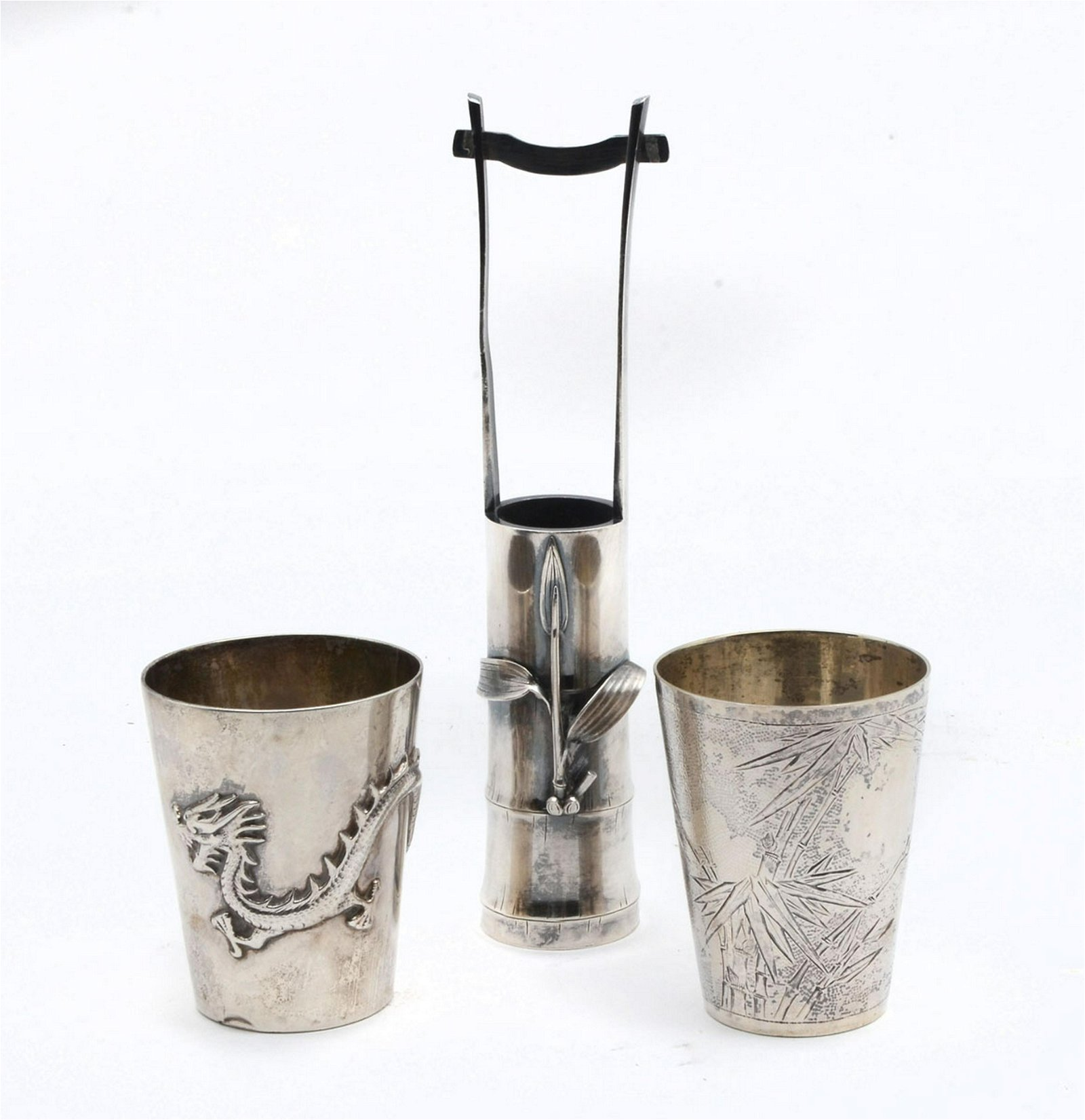3 PC. CHINESE SILVER CUPS & CHOPSTICK HOLDER