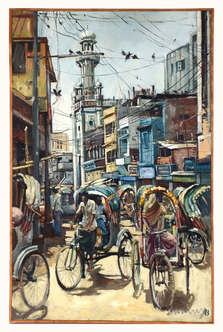 ILLEGIBLY SIGNED BUSTLING ASIAN CITY STREET PAINTING